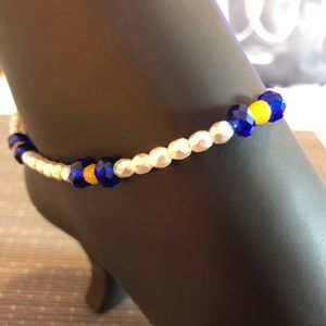 Jewelry - White, Blue and Yellow Handmade Ankle Bracelet
